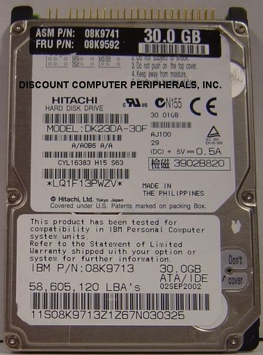 30GB 2.5IN IDE Drive Hitachi DK23DA-30F Tested Free USA Shipping Our Drives Work