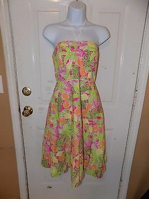 Primary image for Lilly Pulitzer Juice Bar Halter Tie Neck Sleeveless Dress Size 4 Women's EUC