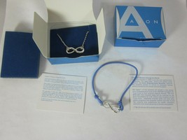 """Avon Silver Tone And Blue Empowerment Bracelet and 16"""" Necklace Infinity Symbol - $14.84"""