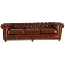 MarquessLife 100% Genuine Antique Leather Tufted Couch 3 Seater Sofa Handmade image 2