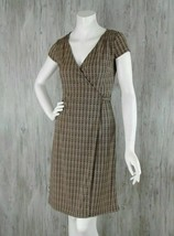 Ann Taylor Loft Women's Size 0 Wrap Around Dress Short Sleeves Brown Str... - $18.55