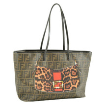 FENDI Zucca Canvas Printed Tote Bag Brown Black PVC Leather Auth 9319 - $620.00
