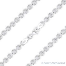 4mm Flat Disco Charm Link Italian Chain Necklace .925 Sterling Silver w/ Rhodium - $37.31 - $43.10