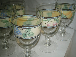 "5 Mikasa Garden Harvest Goblets 7""  CAC29 Excellent  clear - $45.99"