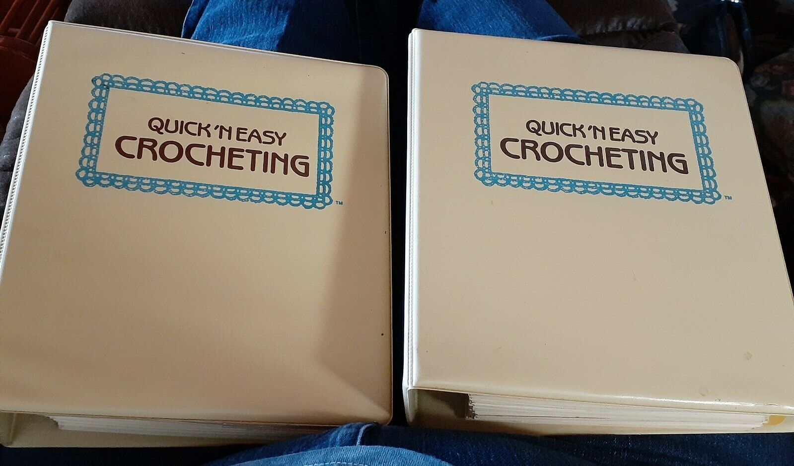 Set of 2 - Golden Quick 'N Easy Crocheting Pattern Books Binders with Contents