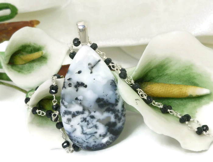 White Dendritic Opal Pendant Black Spinel Sterling Necklace