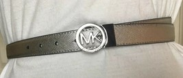MICHAEL KORS BELT REVERSIBLE NICKEL/BLACK With MK LOGO CIRCLE BUCKLE - $37.99