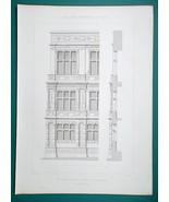 ARCHITECTURE (3) PRINTS 1864 - ARRAS France Town Hall Facade Aisle + Det... - $22.46