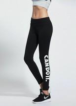 Women Mid Elastic Waist Fitness Leggings Pants Letter Print Design Nylon... - $22.79
