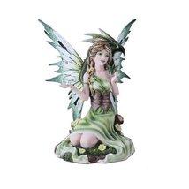 Summer Princess Flower Fairy and Dragon Mystical Statue Figurine Meadow - $35.64