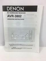 Denon AVR-3802 AV Receiver Owner's Manual - Operating Instructions - $14.84