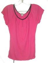 Size S - H&M Pink Top w/Open Slits Neckline, Black Accents & Black Skinny Belt - $18.99
