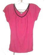 Size S - H&M Pink Top w/Open Slits Neckline, Black Accents & Black Skinn... - $18.99