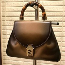 GUCCI Leather Bamboo Hand Bag Purse Brown World L/d 300 pieces Vintage R... - $2,805.00
