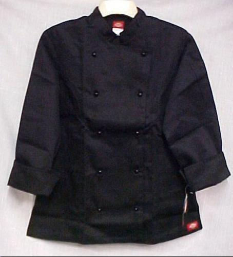 Primary image for Dickies CW070308CA Medium Black Double Breasted Stud Buttons Chef Jacket New