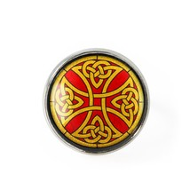 Celtic Stained Glass Knot Cross Design Silver Traditional Irish Glass Ring - $13.49