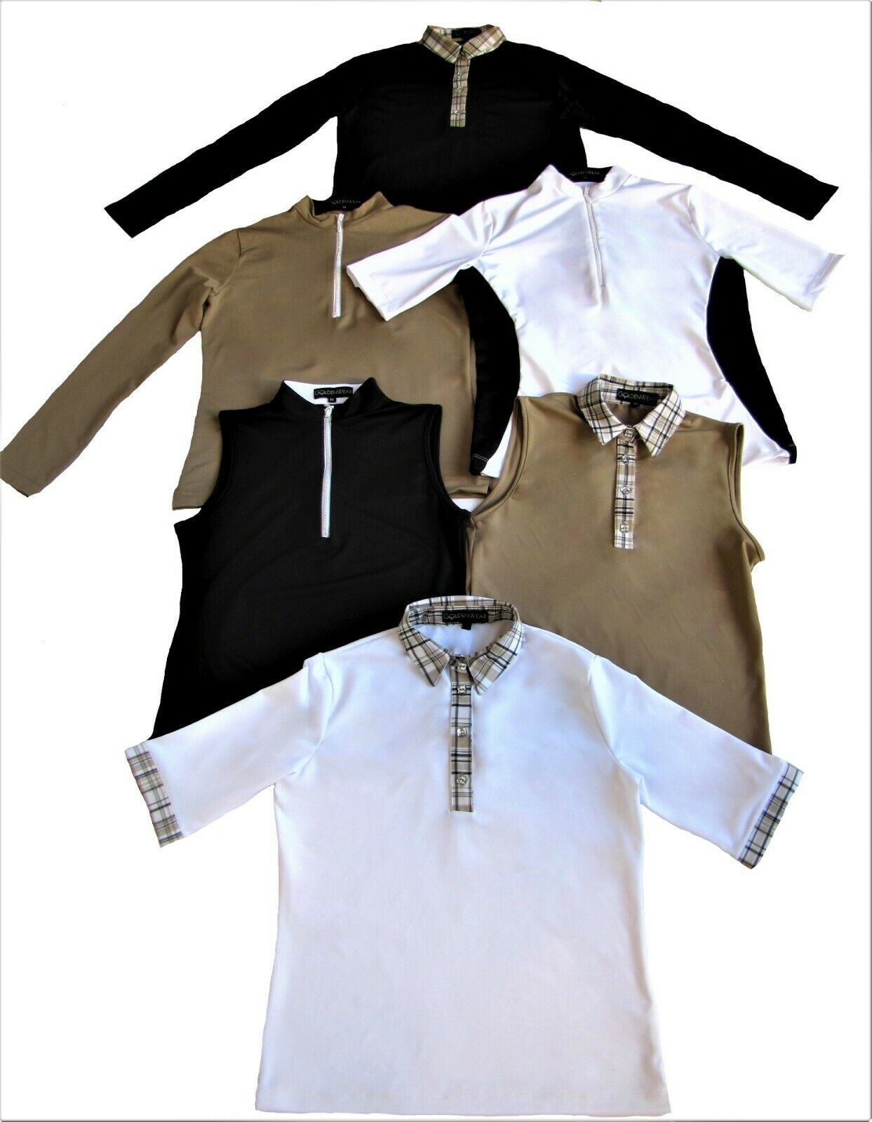 GOLF & CASUAL TAN LONG SLEEVE TOP WITH ZIPPER NECK  - NEW - GOLDENWEAR image 2