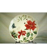 Lenox Butterfly Meadow Holiday Poinsettia And Blue Butterfly Dinner Plat... - $19.79