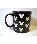 Disney Mickey Mouse coffee mug white impressed silhouette heads on black... - $8.56