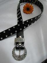 Damen Kunstleder Western Schwarz Gürtel Große Schleife Silber Perlen Schnalle image 7
