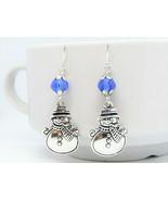 Snowman Charm  Blue Crystal Silver Dangle Earrings USA HANDMADE - $4.99