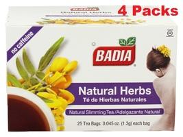 Badia-Natural Herbs Slimming Tea Lose Weight (4 Packs ) 100 individual t... - $13.99