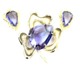 HUGE Statement VTG 50s Signed BSK Goldtone & Purple Crystal Flower Brooc... - $95.79