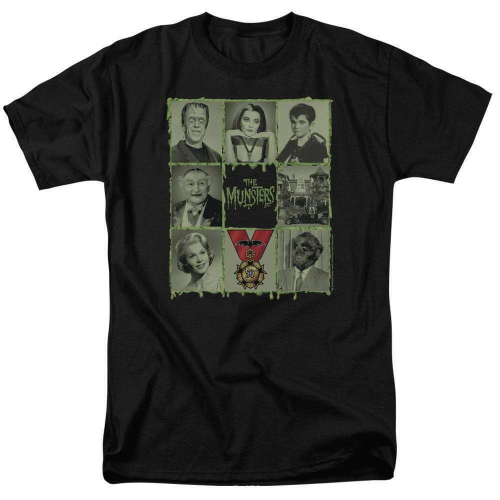 The Munsters graphic t-shirt Munster collage characters retro 60s TV NBC894