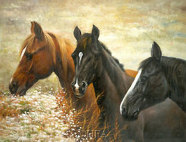 Majestic Trio by Bill Davies Horses Canvas Giclee - $167.31
