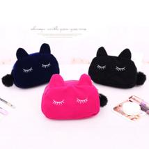 Cartoon Kawaii Pencil Case Cute Cat Plush Big Capacity Pencil Bag for Gi... - $6.00