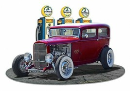 1932 Rod Sedan Full Up at Richfield Gas by Larry Grossman Plasma Cut Met... - $35.00