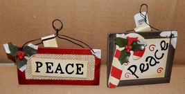 "Christmas Themed Ornaments PEACE Signs 2 Each Wood 4"" x 4 1/2"" Celebrate... - £6.51 GBP"
