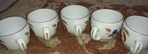 "Royal Worcester Evesham (5) Cups 2.75"" Tall Fruit Gold (free shipping)"