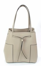 Tory Burch French Grey Leather Block T Tote Shopper Bag Medium Handbag - $382.45