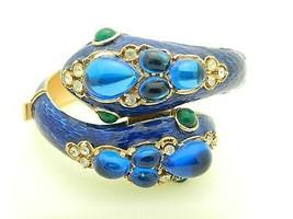 RARE CROWN TRIFARI L'Orient Blue Enamel Two Headed Snake Rhinestone Brac... - $989.99