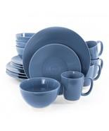 Gibson Rowland 16 Piece Stoneware Round Dinnerware Set in Blue - $52.99