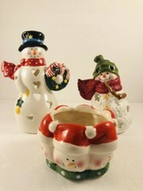 2 Hallmark Snowman Tealight Holder and Tii Collection candle holder - $19.79