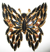 Eisenberg Ice Jet/Topaz Rhinestone Butterfly Brooch  /  Pin - $79.99