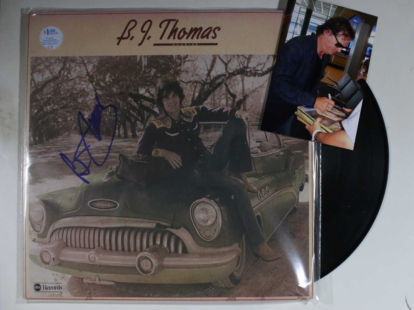 Primary image for B.J. Thomas Signed Autographed Record Album w/ Proof Photo