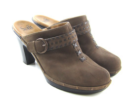 Sofft Women's Brown Suede Leather Studded Buckle Clogs Heels 10 M  - $33.42