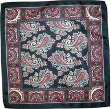 Quality Silk Pocket Square Scarf - Navy Paisley - $16.00