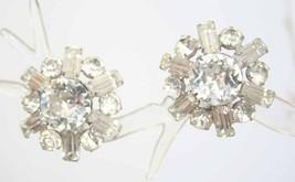 Coro Fabulous Mid Century Modern Crystal Rhinestone Earrings 1950s vintage - $14.20