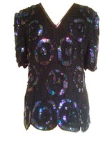 1980s Laurence Kazar Black Purple Iridescent Sequinned Beaded Shirt Tuni... - $39.00