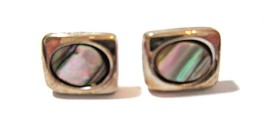 PIERCED EARRINGS VINTAGE SMALL RECTANGLE ABALONE SHELL SILVER TONE - $29.00