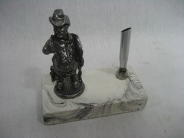 Pewter Cowboy Sheriff Marshall Pen Holder Figurine 1982 - $17.77