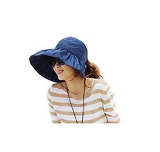 Mocase Outdoor Womens Anti-UV Sun Shade Hat Wide Brim Summer Sun Caps Navy - $10.39