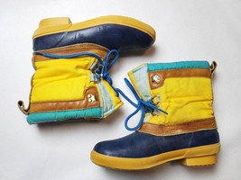 lands end womens boots size 7 vintage yellow blue rubber lace up - $47.49