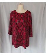 Susan Graver top tunic 3/4 slit sleeve Medium red black embellished sequins - $15.63