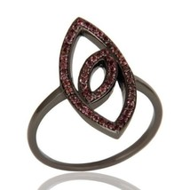 925 Sterling Silver Black Rhodium Pink Tourmaline Ring Designer Wedding ... - $41.00