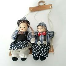 Vintage Old Swing Boy And Girl kids Doll Porcelain Face Soft Stuffed Clo... - $39.60